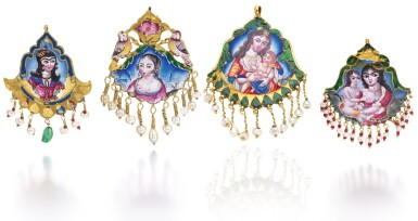 FOUR QAJAR GOLD AND POLYCHROME ENAMELLED EARRINGS/PENDANTS, PERSIA, 19TH CENTURY