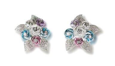 PAIR OF GEM SET AND DIAMOND EAR CLIPS, MICHELE DELLA VALLE