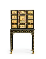 A GEORGE III STYLE PIETRE TENERE MOUNTED EBONISED WOOD CABINET-ON-STAND THE PANELS, FLORENCE, LATE 17TH CENTURY