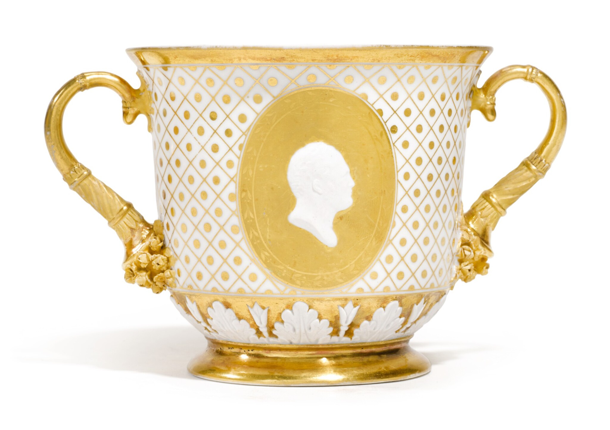 View full screen - View 1 of Lot 259. A TWO-HANDED PORCELAIN CUP, PROBABLY IMPERIAL PORCELAIN FACTORY, ST PETERSBURG, CIRCA 1820.