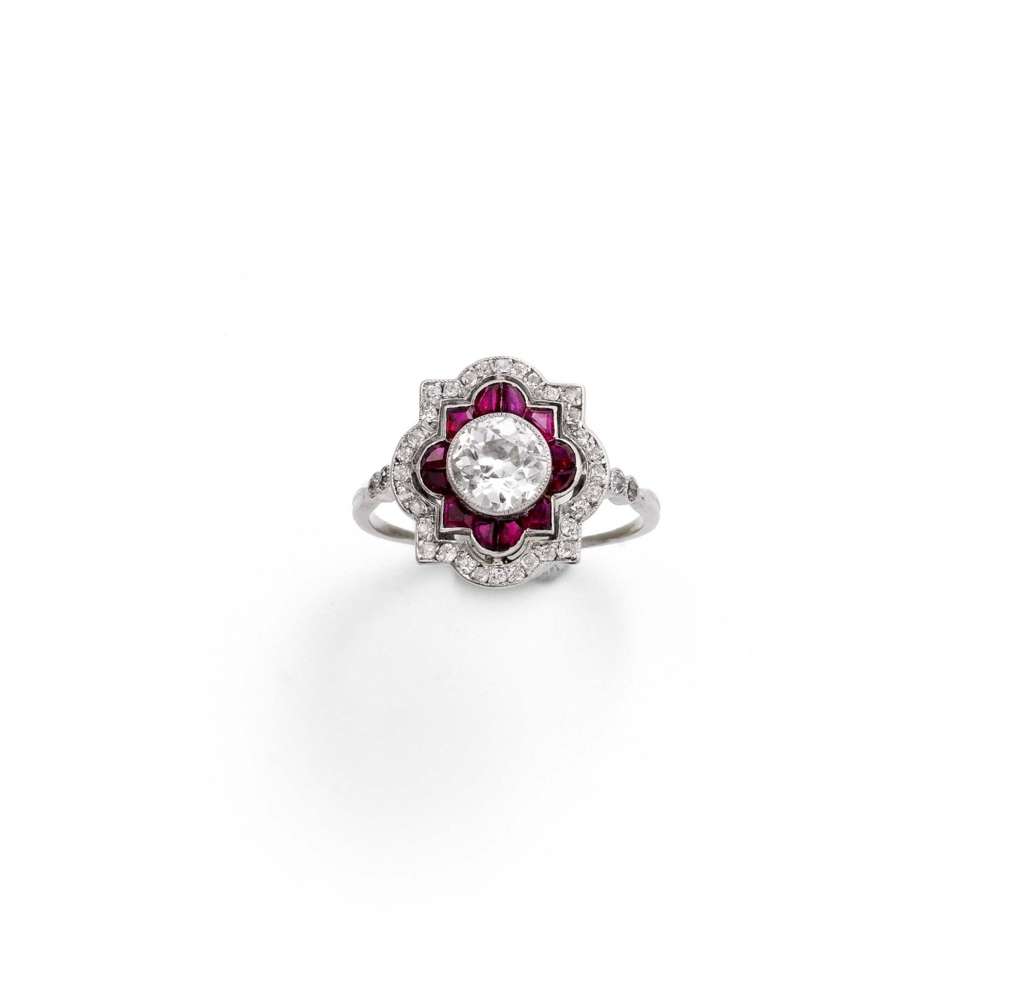 View full screen - View 1 of Lot 49. Ruby and diamond ring [Bague rubis et diamants], 1930s [vers 1930].