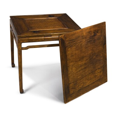 View 1. Thumbnail of Lot 148. A 'huanghuali' and mixed-hardwood square games table, Late Qing dynasty / early 20th century.