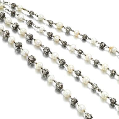 View 1. Thumbnail of Lot 32. Natural pearl and diamond long chain, circa 1900.
