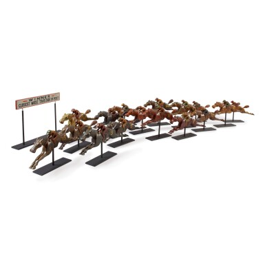 SIXTEEN CARVED AND PAINTED PINE CARNIVAL GAME RACE HORSES, CIRCA 1890-1920