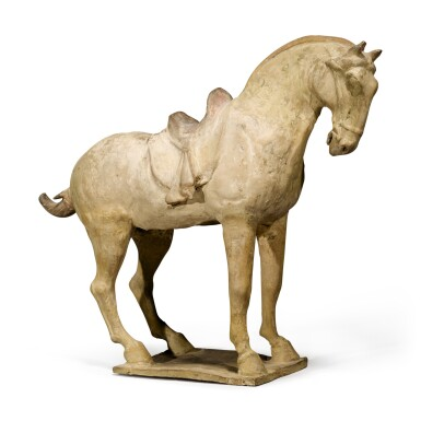 View 1. Thumbnail of Lot 105. A painted pottery figure of a horse, Tang dynasty.