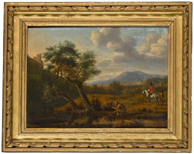 View 2. Thumbnail of Lot 163. Southern landscape with a man shooting by a pond, a gentleman on horseback with a boy, and a shepherd with his flock beyond.