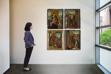 View 2. Thumbnail of Lot 26. ANTONIO VÁZQUEZ  | FOUR PANELS FROM AN ALTARPIECE WITH EPISODES FROM THE LIFE OF ST JOHN THE BAPTIST: THE VIRGIN AND CHILD WITH THE INFANT ST JOHN; THE PREACHING OF ST JOHN THE BAPTIST; THE VISITATION; SALOME WITH THE HEAD OF ST JOHN THE BAPTIST.