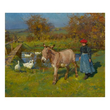 View 1. Thumbnail of Lot 72. SIR ALFRED JAMES MUNNINGS, P.R.A., R.W.S.   CROSTWICK COMMON: WOMAN WITH A DONKEY AND GEESE .