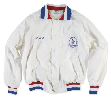 View 1. Thumbnail of Lot 1107. U.S. OLYMPIC COMMITTEE | PERSONALIZED OLYMPIC WINDBREAKER AND COMMEMORATIVE PLAQUE.