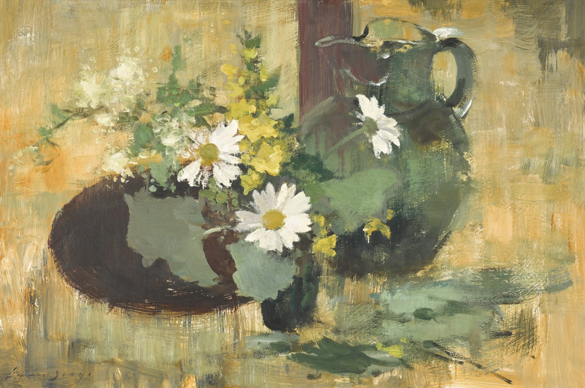 View 1 of Lot 115. Flower Study in Green and Yellow.