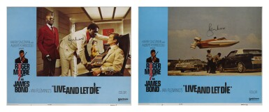 Live and Let Die (1973) two lobby cards, US, both signed by Roger Moore