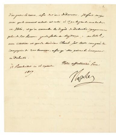 View 1. Thumbnail of Lot 88. NAPOLEON I   letter signed, to Eugène de Beauharnais, about troop reinforcements in Dalmatia, 1807.