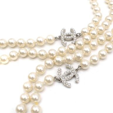 View 5. Thumbnail of Lot 165. CHANEL | IVORY FAUX PEARL DOUBLE STRAND NECKLACE WITH FAUX PEARL EMBELLISHED CC PENDANTS AND LOBSTER CLASP CLOSURE, 2012.