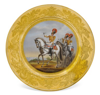 View 1. Thumbnail of Lot 125. Drummer of the Chevalier Guard Regiment: A Military porcelain plate, Imperial Porcelain Manufactory, St Petersburg, period of Nicholas I, 1832.