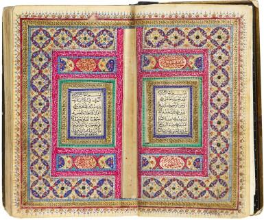 A SMALL ILLUMINATED QUR'AN, COPIED BY FAWZI (?) IBN MUHAMMAD HASHIM MAHMUD AL-MUSAWI, PERSIA, QAJAR, DATED 1277 AH/1860-61 AD