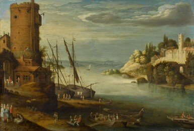 View 1. Thumbnail of Lot 127. A river landscape with a fort.
