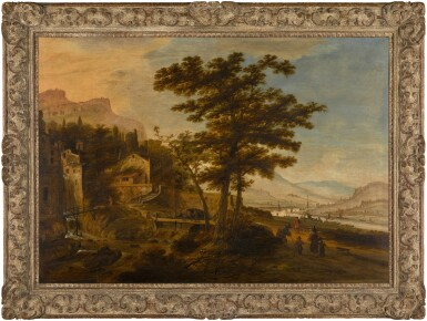 View 2. Thumbnail of Lot 36. An extensive mountainous and river landscape with a village.