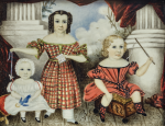 ATTRIBUTED TO MRS. MOSES B. RUSSELL (CLARISSA PETERS) | MINIATURE PORTRAIT OF THREE CHILDREN ON A NEOCLASSICAL PATIO