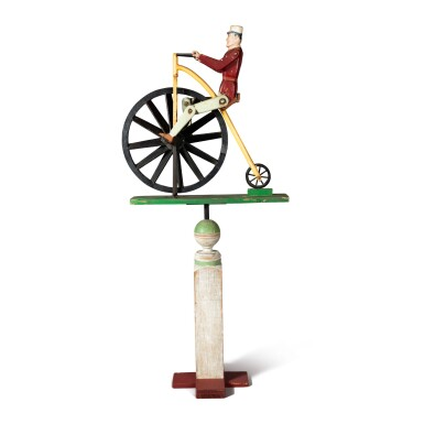 POLYCHROME PAINTED WOOD WHIRLIGIG OF A MAN RIDING HIGH WHEELER BICYCLE, CIRCA 1920