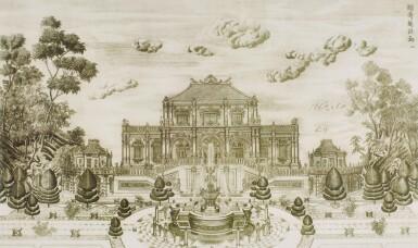 View 8. Thumbnail of Lot 362. A SET OF TWENTY PRINTS OF PALACES, PAVILIONS AND GARDENS AT YUANMING YUAN | 巴黎、1977年 《郎世寧圓明園西洋樓》 一組二十幅 水墨紙本.