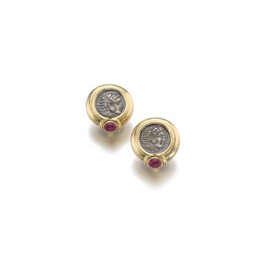PAIR OF GOLD, RUBY AND COIN EAR CLIPS, BULGARI