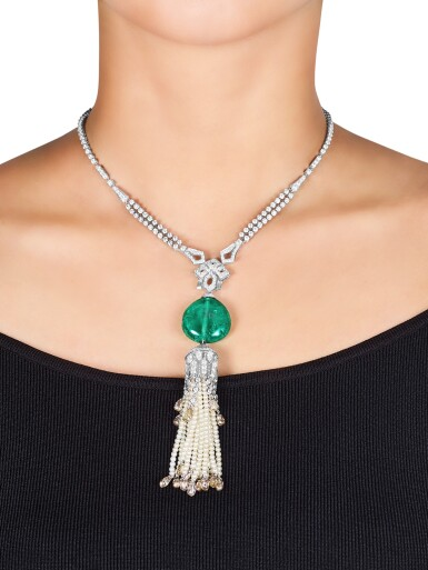 View 3. Thumbnail of Lot 1737. Cartier | Emerald, Seed Pearl and Diamond Pendent Necklace | 卡地亞 | 42.09克拉「哥倫比亞」祖母綠 配 珍珠 及 鑽石 項鏈.