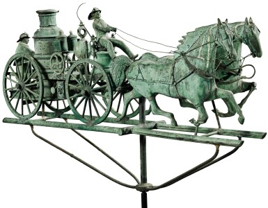 EXCEPTIONAL AND RARE MOLDED SHEET-COPPER AND ZINC FIRE PUMPER AND DOUBLE-HORSE WEATHERVANE, CUSHING & WHITE, WALTHAM, MASSACHUSETTS, CIRCA 1870