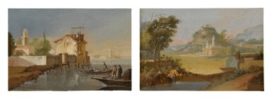 View 2. Thumbnail of Lot 103. View of a port, with fishermen coming to shore; A fisherman along a riverbank, a hillside town beyond.