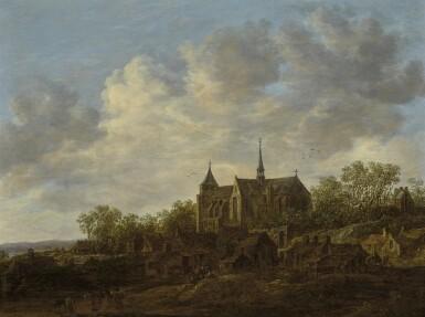 JAN JOSEFSZ. VAN GOYEN   View of a villagewith a large Gothic church