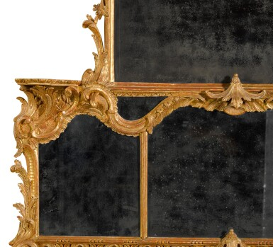 View 2. Thumbnail of Lot 68. A George II carved giltwood overmantel mirror, circa 1755-60.