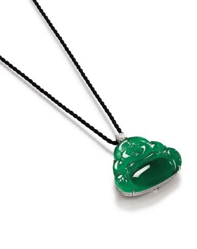 View 3. Thumbnail of Lot 1686. Jadeite 'Buddha' and Diamond Pendent Necklace | 天然翡翠雕「彌勒佛」 配 鑽石 項鏈.