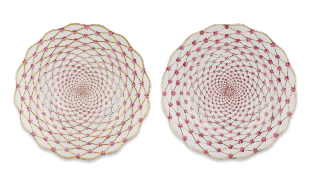 TWO PORCELAIN PLATES FROM HER MAJESTY ELIZABETH PETROVNA'S OWN SERVICE, IMPERIAL PORCELAIN FACTORY, ST PETERSBURG, CIRCA 1760