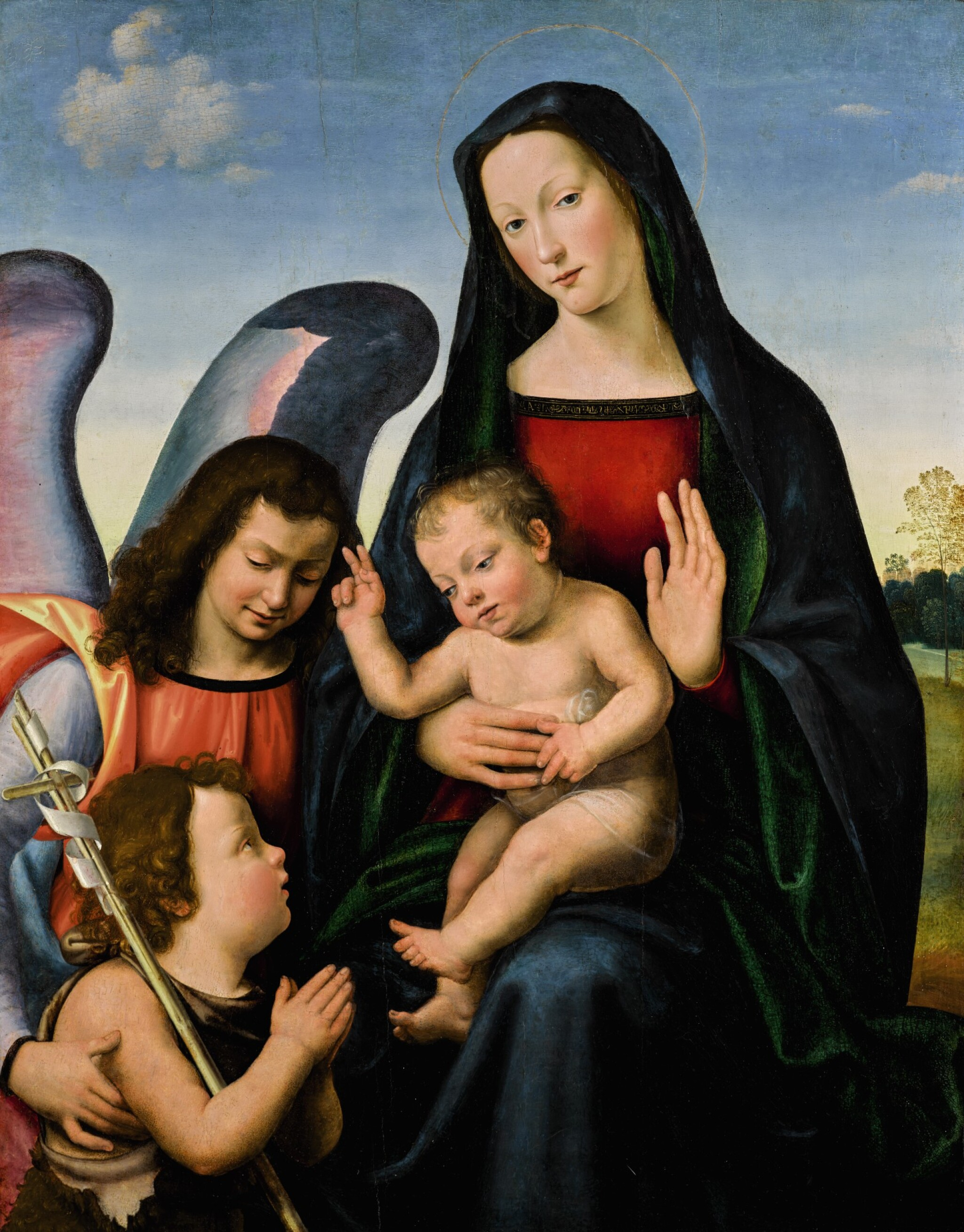View 1 of Lot 2. The Virgin and Child with the young Saint John the Baptist and an angel | 《聖母與聖嬰、少年施洗者聖約翰及天使》.