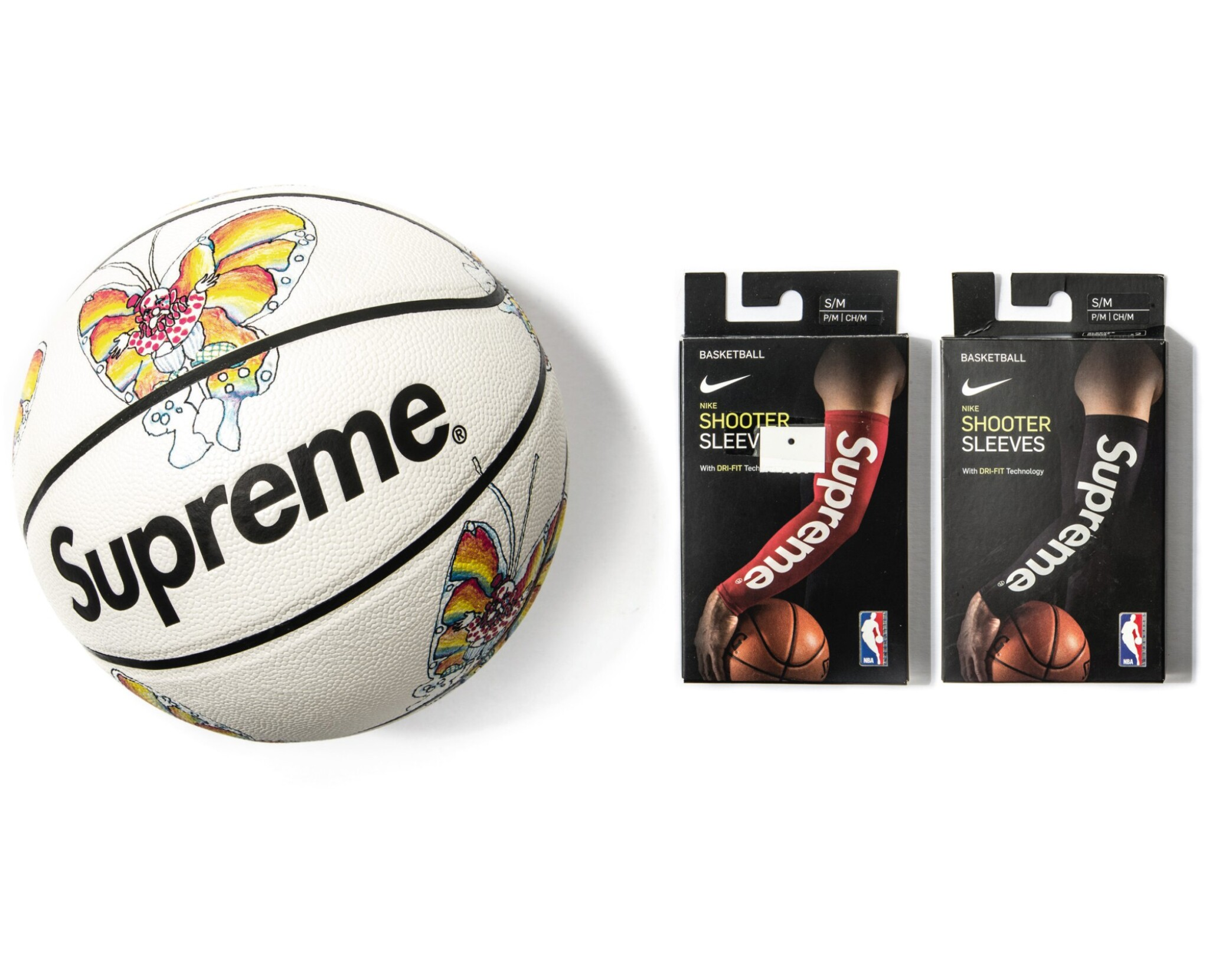 View full screen - View 1 of Lot 8. SUPREME GONZ BUTTERFLY SPALDING BASKETBALL WITH SHOOTING SLEEVES [3 PIECES].