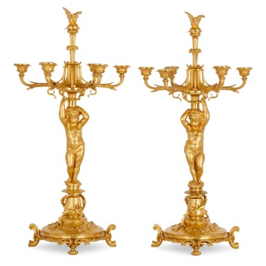View 5. Thumbnail of Lot 75. A FRENCH GILT-BRONZE AND CUT-GLASS SIX-PIECE GARNITURE, BY CHRISTOFLE & CIE CIRCA 1880.