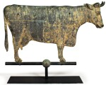 MONUMENTAL MOLDED COPPER AND ZINC 'COOPERSTOWN' COW WEATHERVANE, PROBABLY NEW ENGLAND, CIRCA 1880