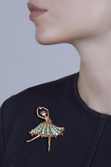 View 3. Thumbnail of Lot 133. Van Cleef & Arpels [梵克雅寶] | Gold, Turquoise, Ruby, Sapphire and Diamond 'Ballerina' Clip-Brooch [黃金鑲綠松石配紅寶石、藍寶石及鑽石「Ballerina」別針].