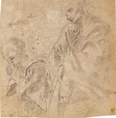 View 1. Thumbnail of Lot 10. Recto: Two separate studies for the figure of St. John in a Lamentation; Verso: Study for the figure of the Madonna in an Assumption.