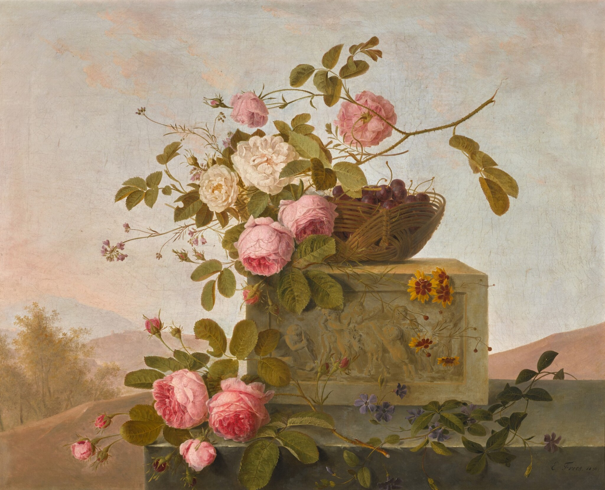 View full screen - View 1 of Lot 11. EMMANUEL FRIES | ROSES ON A CLASSICAL LEDGE.