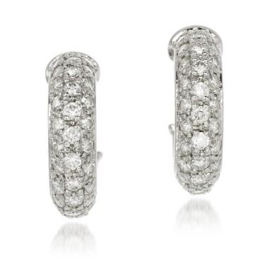 View 1. Thumbnail of Lot 53. Cartier | Pair of diamond earrings.