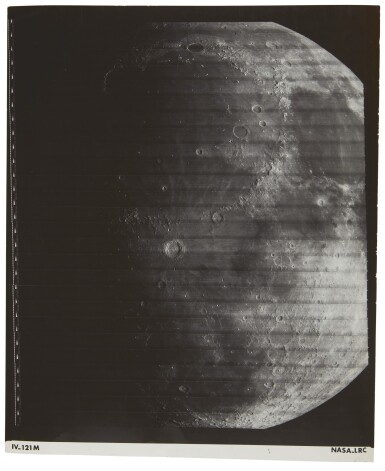 """LUNAR ORBITER IV. NEARSIDE OF THE MOON WITH CRATER COPERNICUS, THE """"SEETHING BAY,"""" AND VARIOUS LUNAR SEAS, 1967."""
