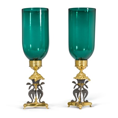 View 2. Thumbnail of Lot 91. A pair of Regency gilt-lacquered and patinated brass storm lights by Cheney London, circa 1810, after a design by G. A. Glick .