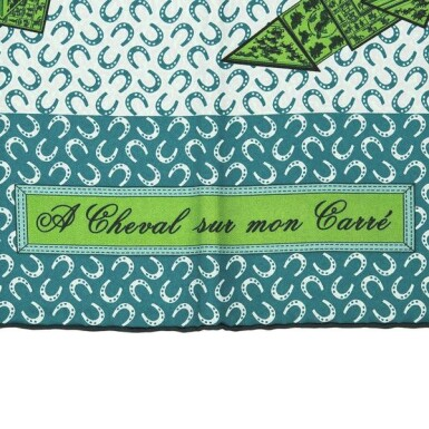 "Hermès ""A Cheval Sur Mon Carre"" Silk Twill Scarf 90cm"