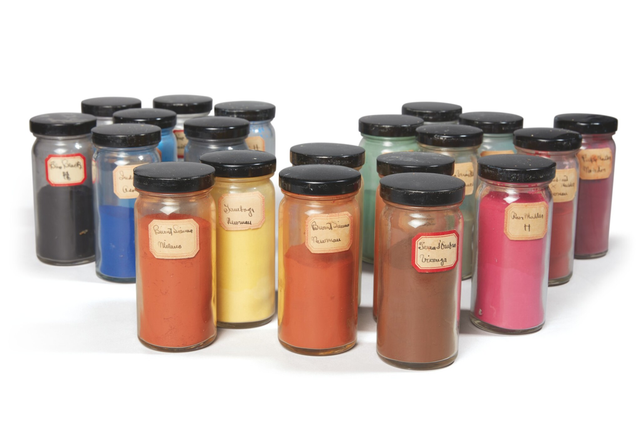 GEORGIA O'KEEFFE'S PIGMENTS |  A COLLECTION OF 20 JARS LABELLED AND USED BY GEORGIA O'KEEFFE