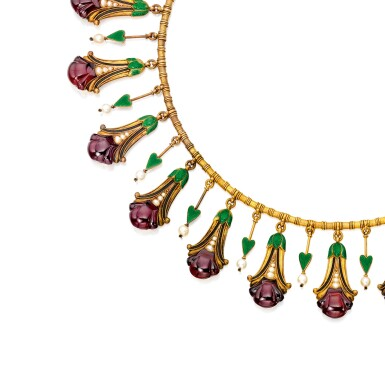 View 2. Thumbnail of Lot 586. GOLD, GARNET, SEED PEARL AND ENAMEL NECKLACE AND PAIR OF PENDANT-EARRINGS, CARLO GIULIANO | 黃金鑲翠榴石配小顆珍珠及琺瑯彩項鏈及吊耳環一對,Carlo Giuliano.
