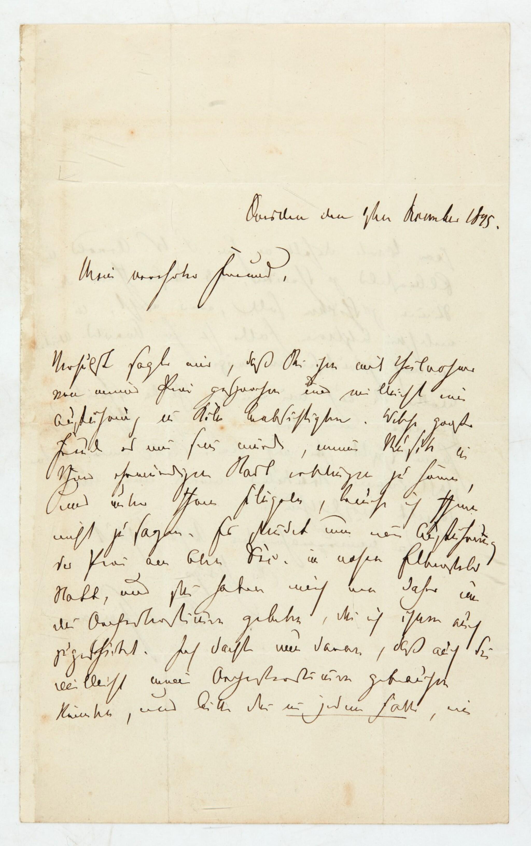 "View 1 of Lot 36. R. Schumann. Autograph letter to Heinrich Dorn about ""Das Paradies und die Peri"", and his illnesses, 1845."
