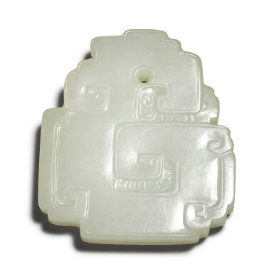 View 2. Thumbnail of Lot 157. A pale celadon jade archaistic pendant, Qing dynasty.