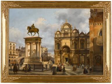 Venice, a view of the Campo Santi Giovanni e Paolo, with the equestrian monument to Bartolomeo Colleoni and the Scuola Grande di San Marco in the background