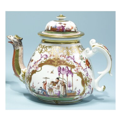 View 1. Thumbnail of Lot 204. A MEISSEN CHINOISERIE TEAPOT AND COVER CIRCA 1723-24.
