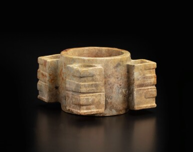 View 1. Thumbnail of Lot 50. A rare Liangzhu-style beige jade cong | 良渚風格玉琮.